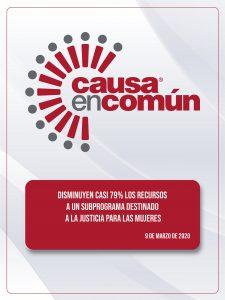 DISMINUYEN CASI 79% LOS RECURSOS A UN SUBPROGRAMA DESTINADO A LA JUSTICIA PARA LAS MUJERES